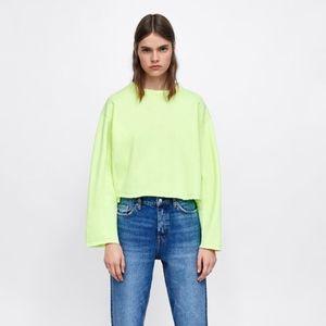 Zara Fluorescent Yellow Cropped Sweatshirt